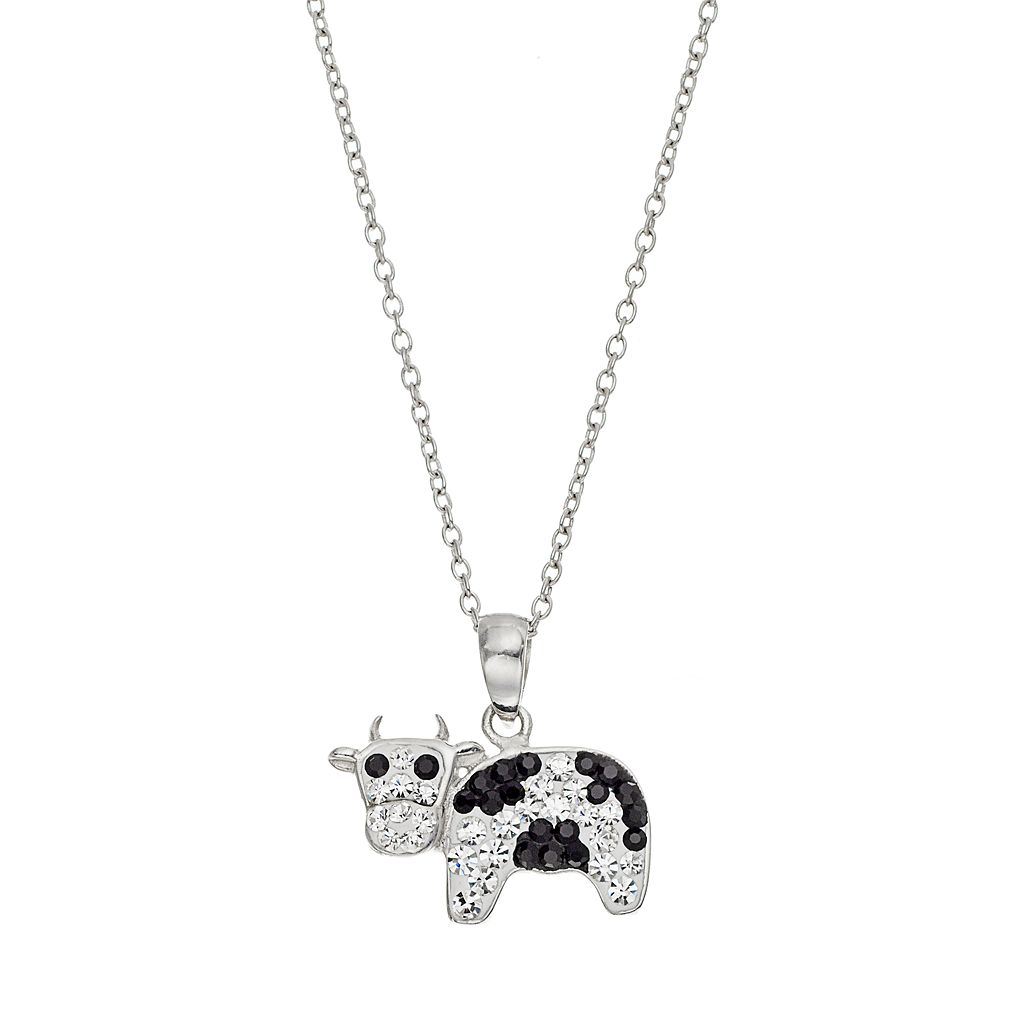 Silver Tone Crystal Cow Pendant Necklace