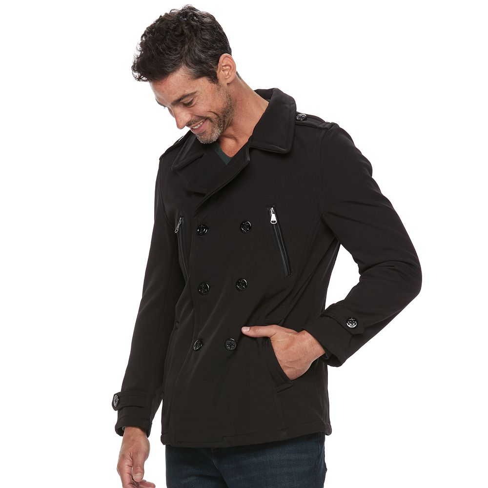 Republic Double-Breasted Softshell Peacoat - Men