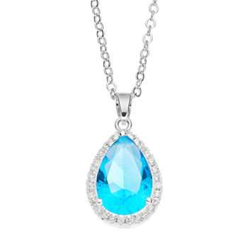 CITY ROX Cubic Zirconia Teardrop Halo Pendant Necklace