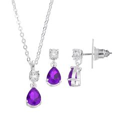 CITY ROX Cubic Zirconia Teardrop Pendant Necklace & Earring Set