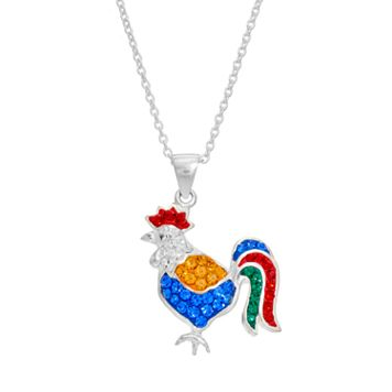 Silver Tone Crystal Rooster Pendant Necklace