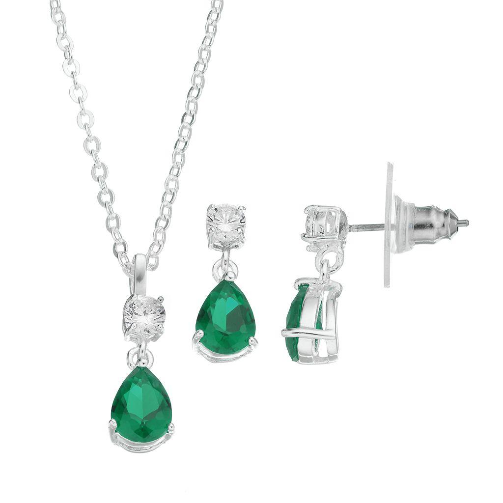 CITY ROX Cubic Zirconia Teardrop Pendant Necklace & Earring Set