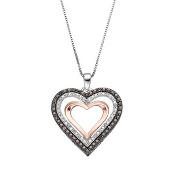 Tri-Tone Sterling Silver 1/4 Carat T.W. Black & White Diamond Heart Pendant Necklace