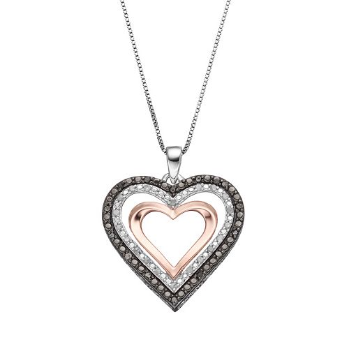 Tri-Tone Sterling Silver 1/4 Carat T.W. Black & White Diamond Heart Pendant Necklace