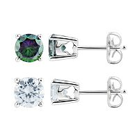 DiamonLuxe Sterling Silver 3 5/8 Carat T.W. Simulated Diamond Stud Earring Set