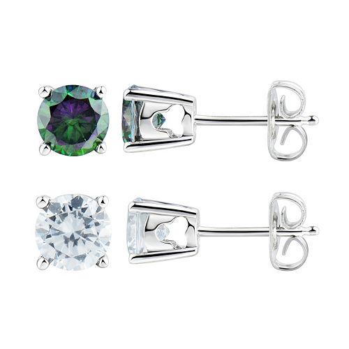 DiamonLuxe Sterling Silver 3 5/8 Carat T.W. Simulated Diamond Stud Earring Set