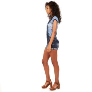 Juniors' Wallflower Distressed Denim Overall Shorts