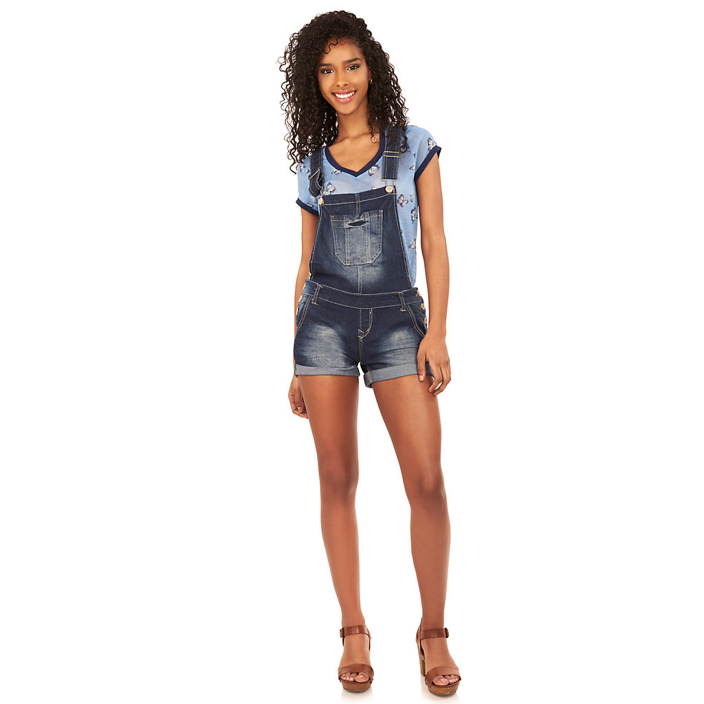 Juniors' Wallflower Distressed Denim Overall Shorts
