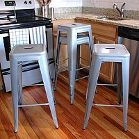 AmeriHome 4 pc Loft Metallic Metal Bar Stool Set