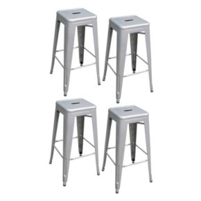 AmeriHome 4-piece Loft Metallic Metal Bar Stool Set