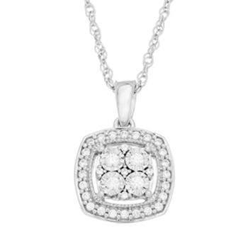 1/5 Carat T.W. Diamond Sterling Silver Cluster Halo Pendant Necklace