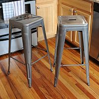 AmeriHome 2 pc Loft Metallic Bar Stool Set