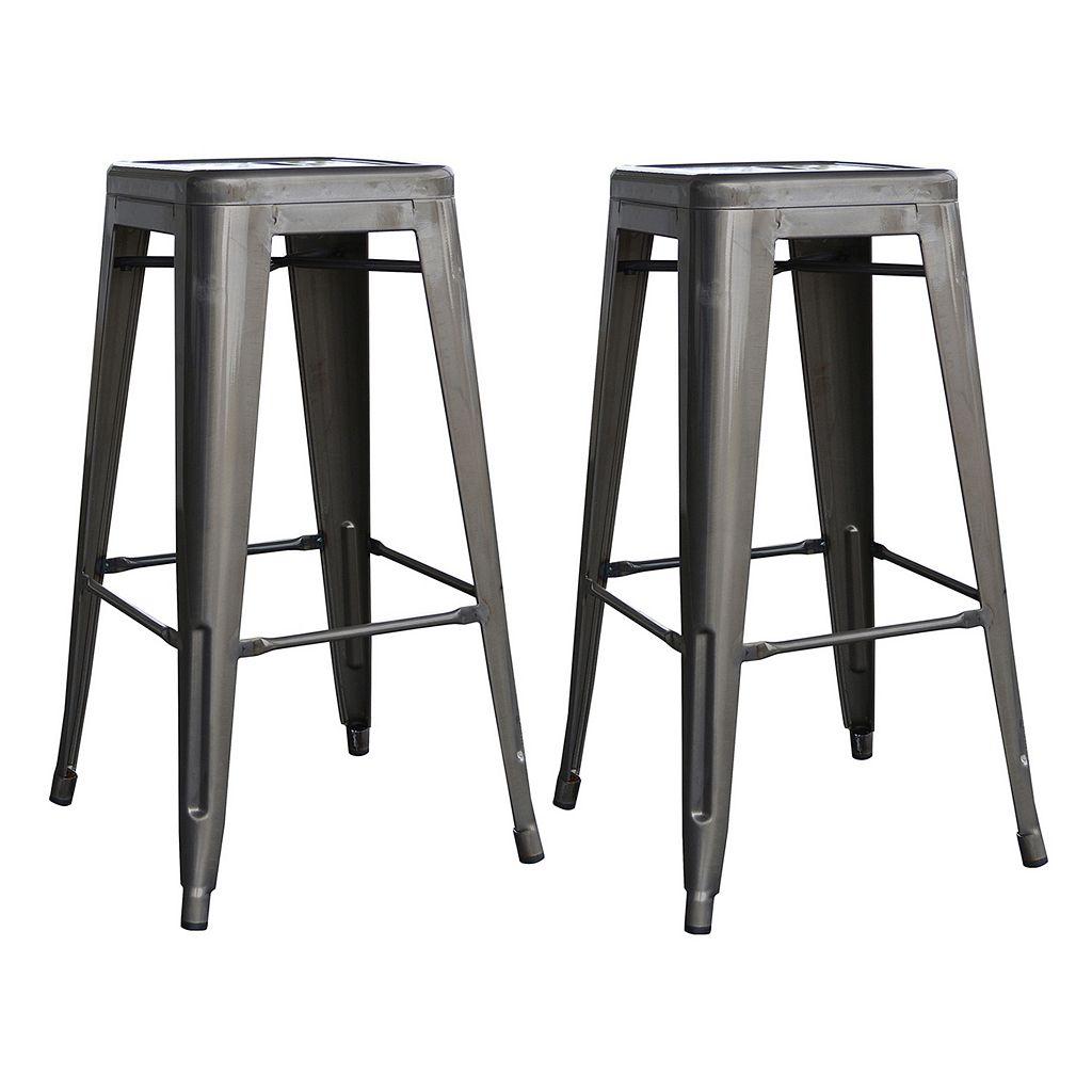 AmeriHome 2-piece Loft Metallic Bar Stool Set