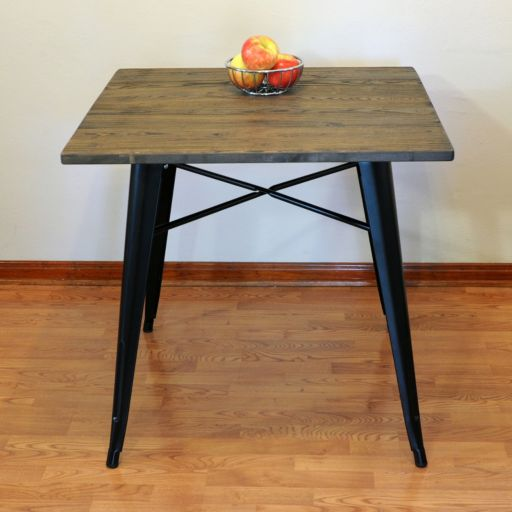 AmeriHome Loft Wood Top Metal Dining Table