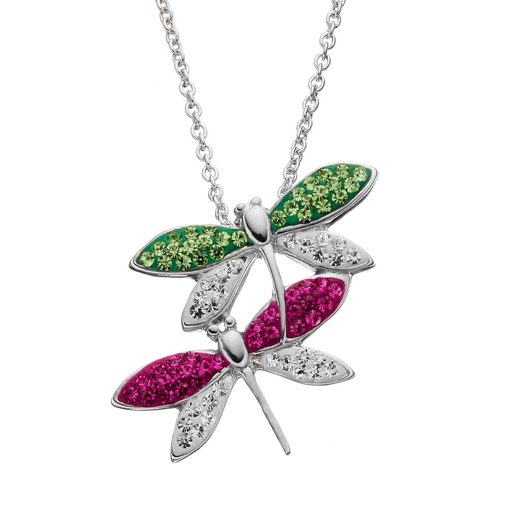 Silver Tone Crystal Dragonfly Pendant Necklace