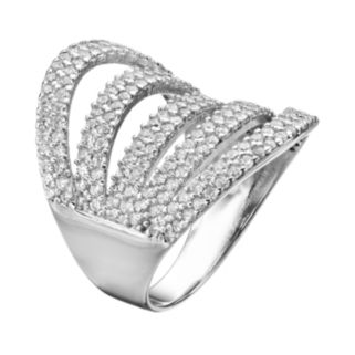 Cubic Zirconia Sterling Silver Openwork Ring