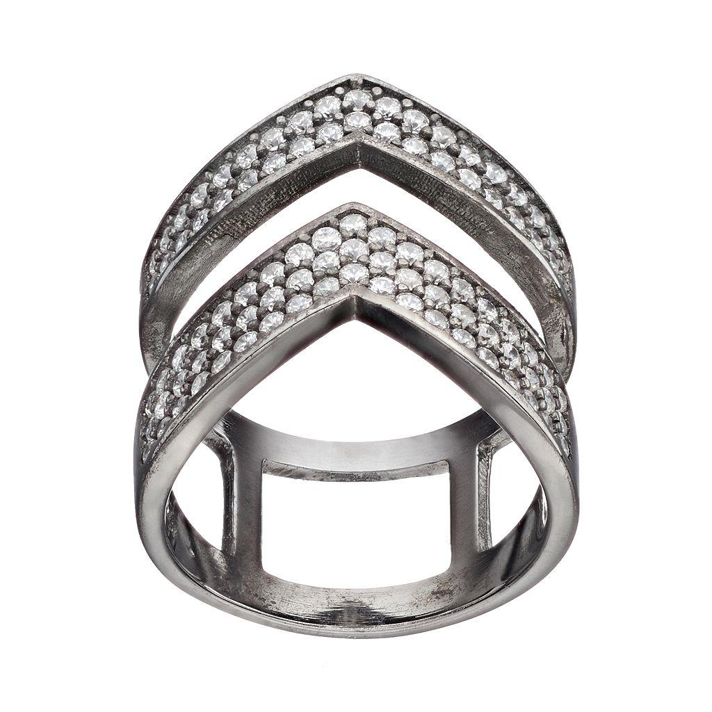 Cubic Zirconia Black Rhodium-Plated Sterling Silver Chevron Ring