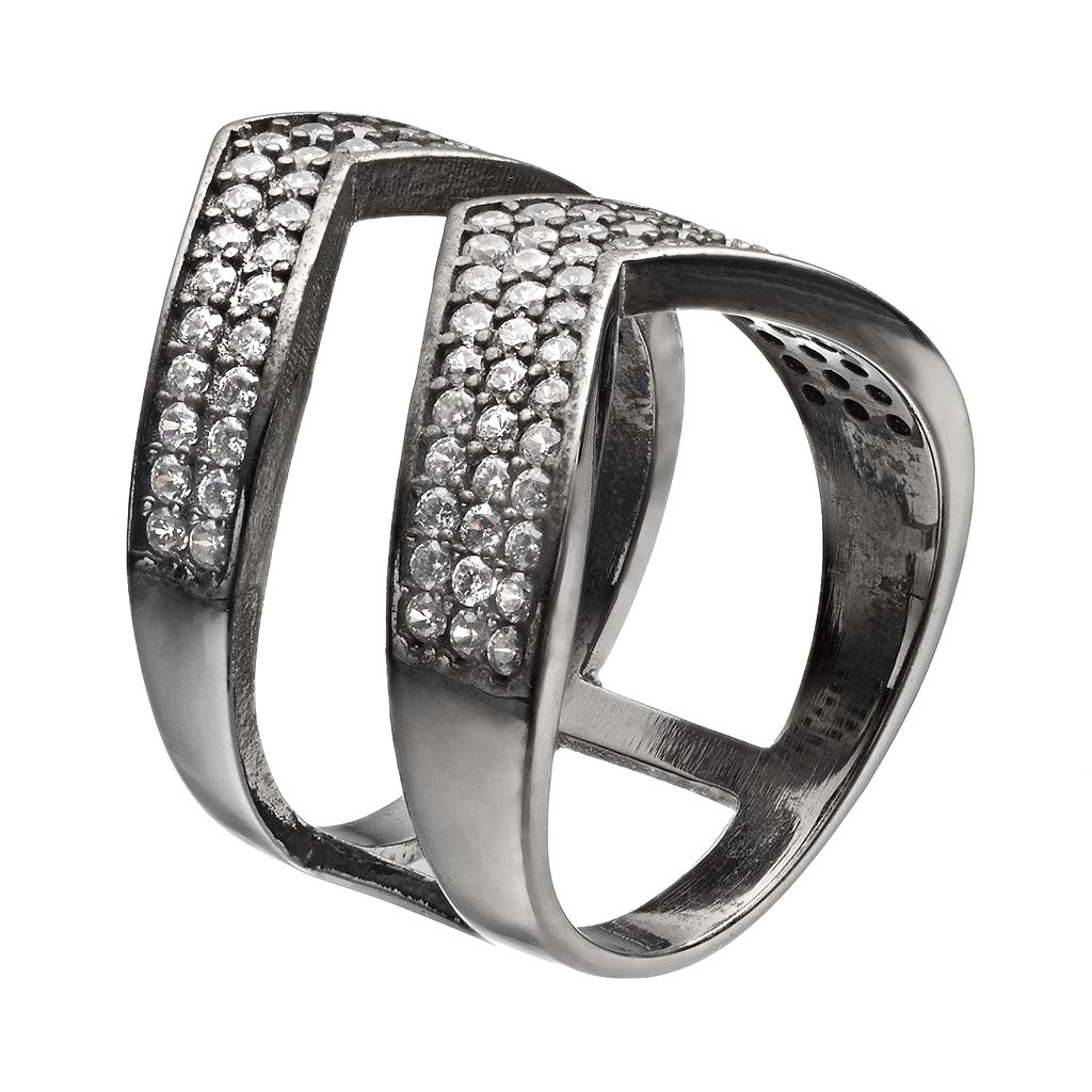 Cubic Zirconia Black Rhodium-Plated Sterling Silver Chevron Ring
