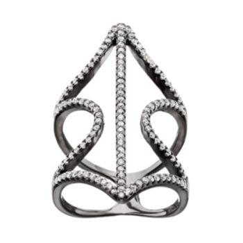 Cubic Zirconia Black Rhodium-Plated Sterling Silver Wavy Leaf Ring