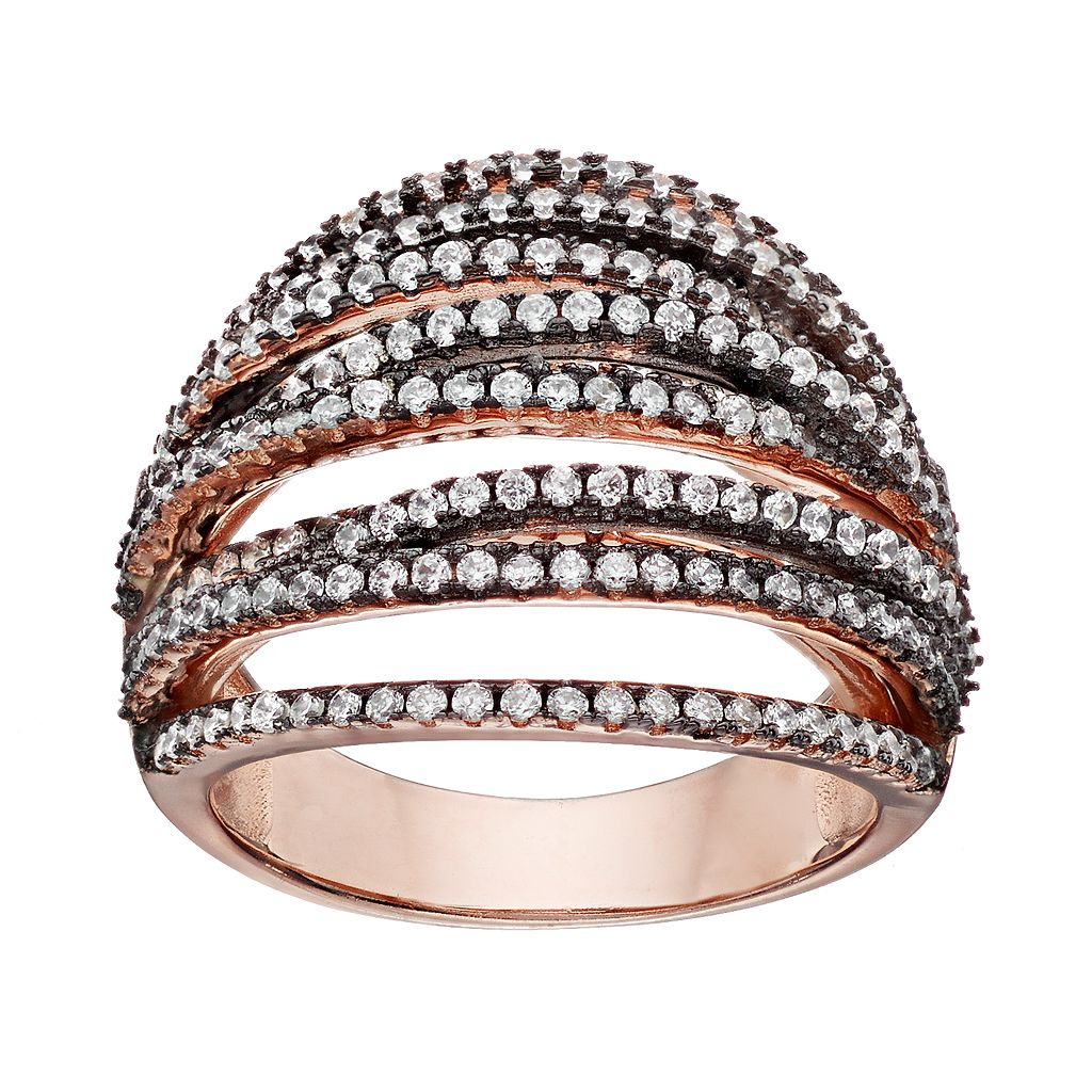 Cubic Zirconia Rose Gold Tone Sterling Silver Crossover Ring