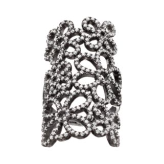 Cubic Zirconia Black Rhodium-Plated Sterling Silver Flower Ring