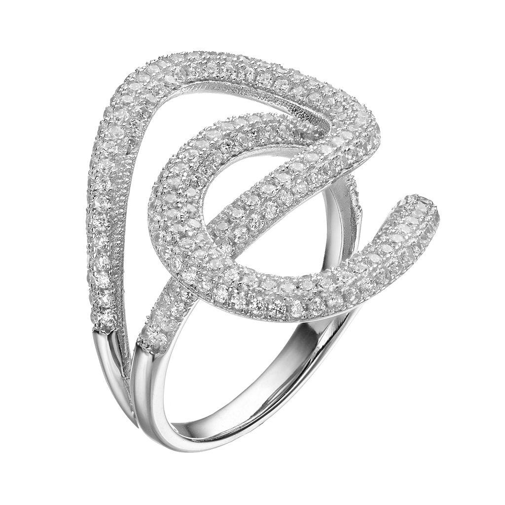 Cubic Zirconia Sterling Silver Interlocking Teardrop Ring