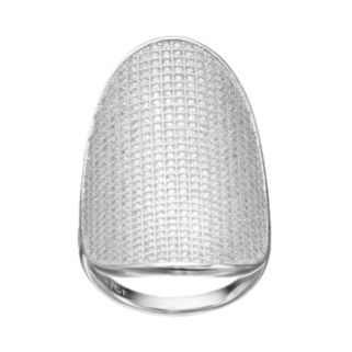 Cubic Zirconia Sterling Silver Oval Disc Ring