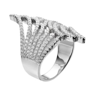Cubic Zirconia Sterling Silver Bypass Ring