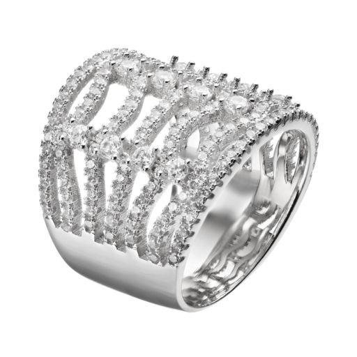 Cubic Zirconia Sterling Silver Wavy Ring