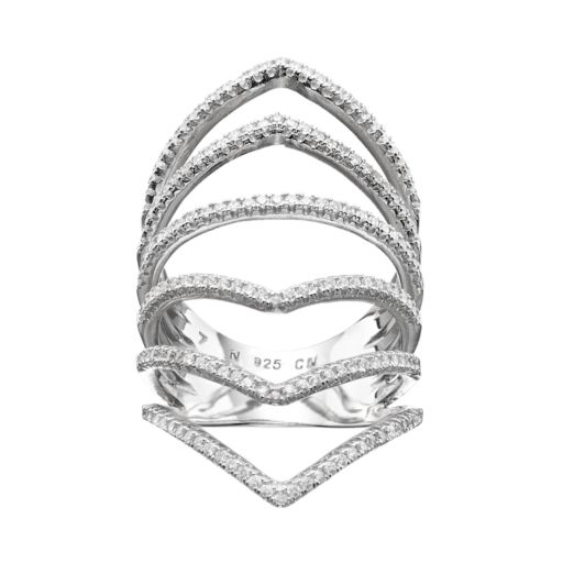 Cubic Zirconia Sterling Silver Chevron Ring