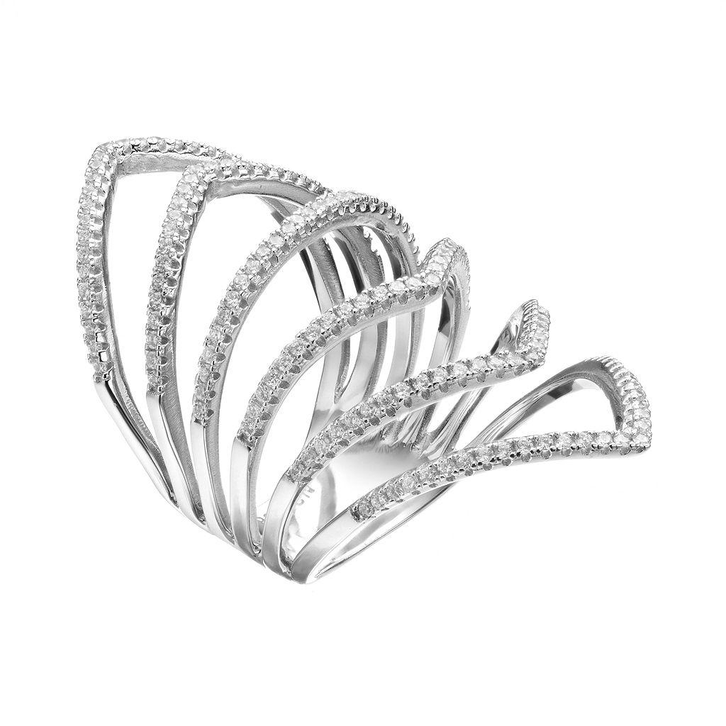 Cubic Zirconia Sterling Silver Chevron Ring