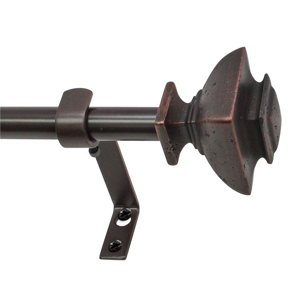 Decopolitan Distressed Square Adjustable Curtain Rod