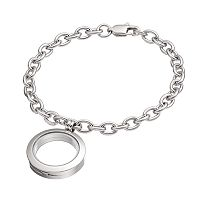 Blue La Rue Stainless Steel 1 in Round Locket Bracelet