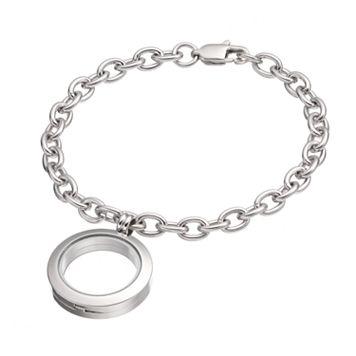 Blue La Rue Stainless Steel 1-in. Round Locket Bracelet