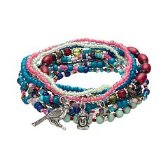 Mudd® Beaded Charm Stretch Bracelet Set