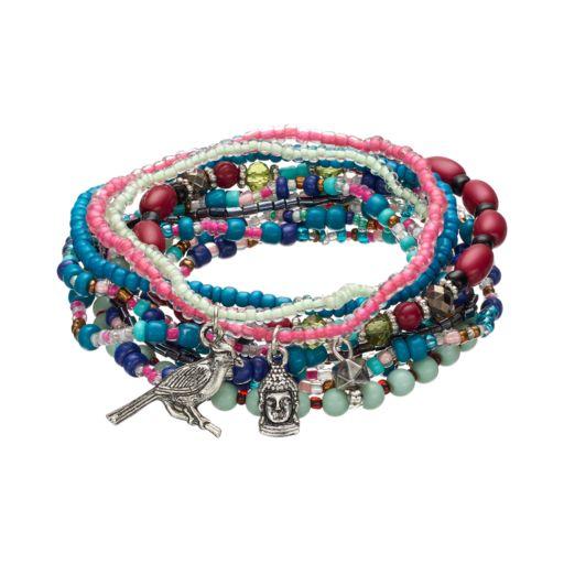 Mudd® Beaded Charm Stretch Bracelet Set