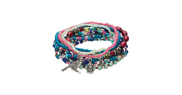 Mudd 174 Beaded Charm Stretch Bracelet Set