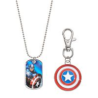 Marvel Avengers Captain America Kids' Dog Tag Necklace, Key Chain & Keepsake Tin Set