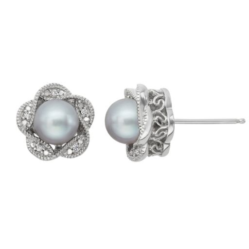 Simply Vera Vera Wang Dyed Freshwater Cultured Pearl & Diamond Accent Sterling Silver Flower Stud Earrings