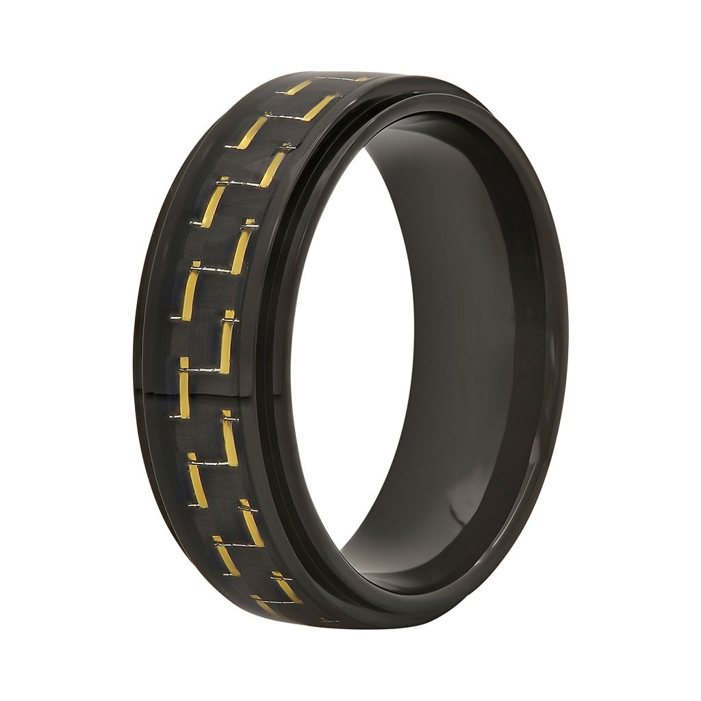 Men's Stainless Steel Carbon Fiber Ring