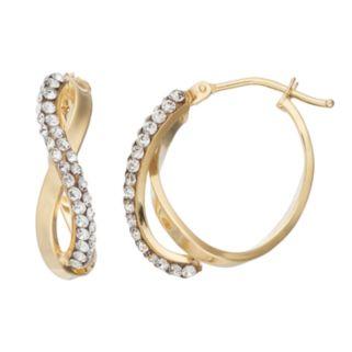 Gold 'N' Ice10k Gold Crystal Infinity Hoop Earrings