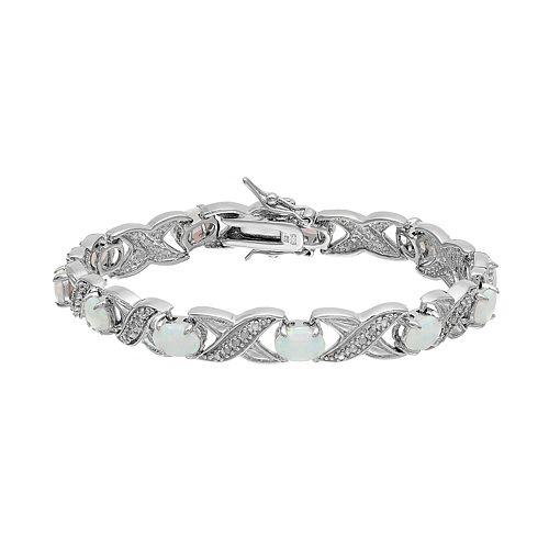 Sterling Silver Lab-Created Opal & 1/4 Carat T.W. Diamond XO Bracelet