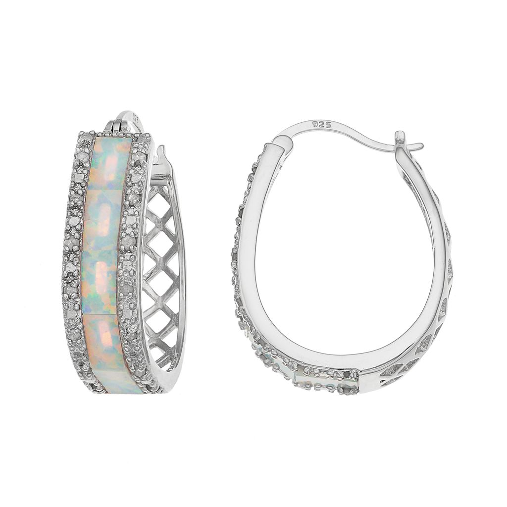 Sterling Silver 1/4 Carat T.W. Diamond & Lab-Created White Opal Oval Hoop Earrings