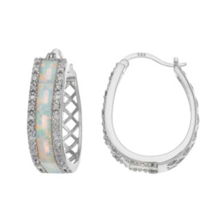 Sterling Silver 1/4 Carat T.W. Diamond & Lab-Created White Opal Oval Hoop Earrings