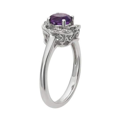 Simply Vera Vera Wang Amethyst & Diamond Accent Sterling Silver Flower Ring
