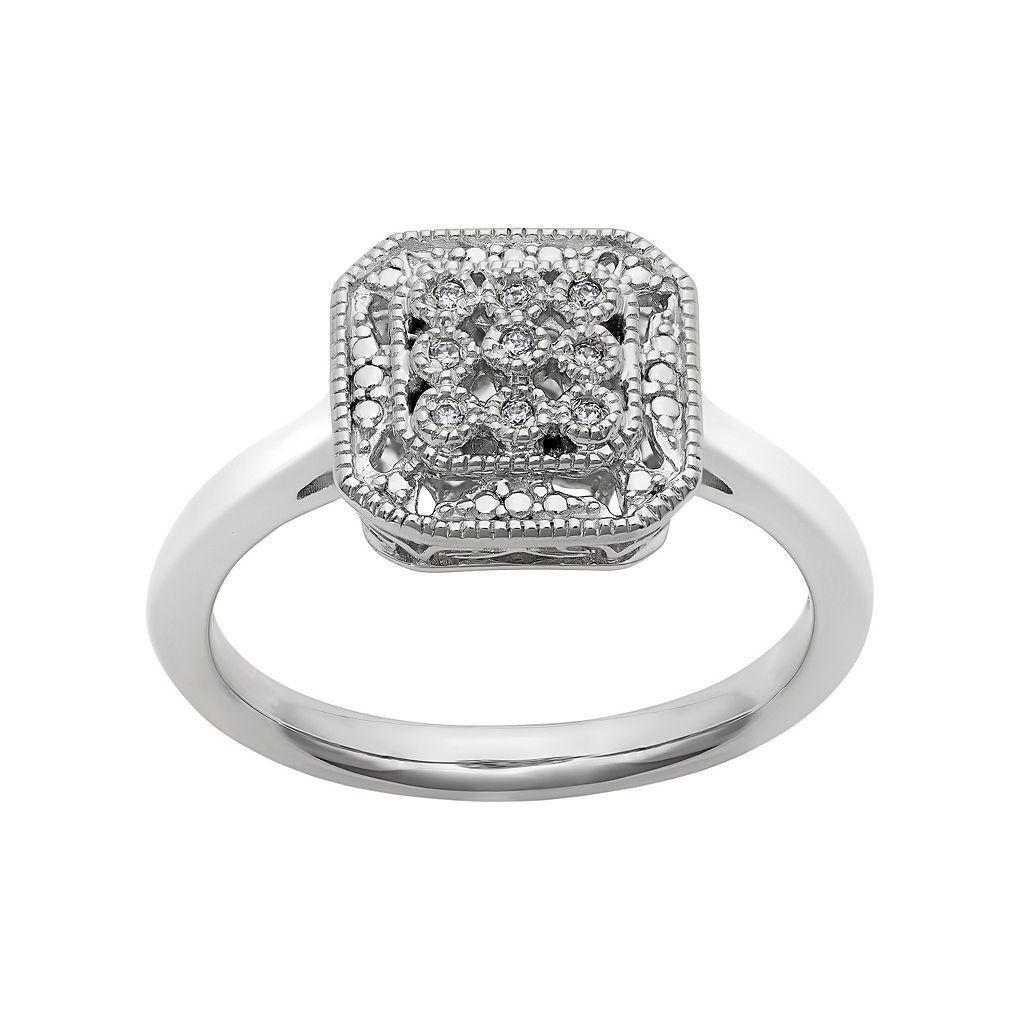 Simply Vera Vera Wang Diamond Accent Sterling Silver Octagonal Halo Ring