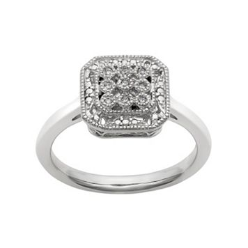 Simply Vera Vera Wang Diamond Accent Sterling Silver Octagonal Halo Ring