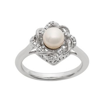 Simply Vera Vera Wang Freshwater Cultured Pearl & Diamond Accent Sterling Silver Twist Ring