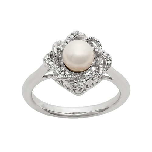 Diamond Rings For Sale Kohls: Simply Vera Vera Wang Freshwater Cultured Pearl & Diamond