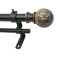 Decopolitan Marble Ball Adjustable Double Curtain Rod